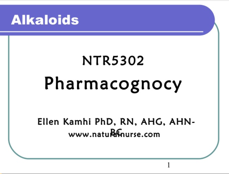 pharmacognocy alkaloids